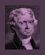 Patriots Framed Prints - THOMAS JEFFERSON in LIGHT PINK Framed Print by Rob Hans