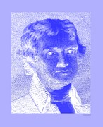 4th July Digital Art - THOMAS JEFFERSON in NEGATIVE BLUE by Rob Hans
