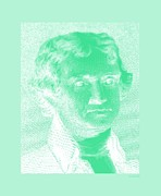 Patriots Framed Prints - THOMAS JEFFERSON in NEGATIVE GREEN Framed Print by Rob Hans