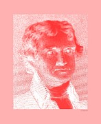 Patriots Prints - THOMAS JEFFERSON in NEGATIVE RED Print by Rob Hans