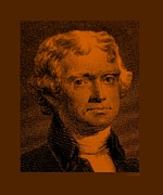 Patriots Framed Prints - THOMAS JEFFERSON in ORANGE Framed Print by Rob Hans