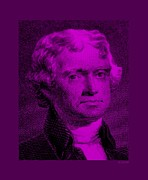 Thomas Jefferson Prints - THOMAS JEFFERSON in PURPLE Print by Rob Hans