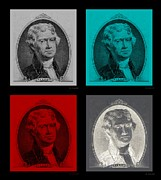 Patriots Framed Prints - THOMAS JEFFERSON in QUAD COLORS Framed Print by Rob Hans