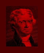 4th July Digital Art - THOMAS JEFFERSON in RED by Rob Hans