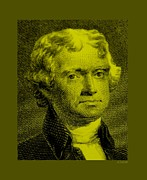 4th July Digital Art Prints - THOMAS JEFFERSON in YELLOW Print by Rob Hans