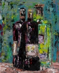 Abstract Art On Canvas Paintings - Three Bottles of Wine by Frances Marino