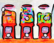 Wingsdomain Digital Art Prints - Three Candy Machines Print by Wingsdomain Art and Photography
