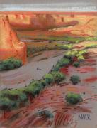 Canyon Drawings - Three Horses in the Arroyo by Donald Maier
