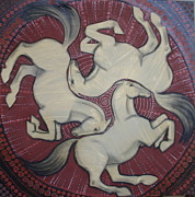 Celtic Spiral Posters - Three Horses Poster by Sophy White