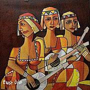 Adel Jarbou Art - Three instrumentalists  by Adel Jarbou