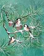 Pine Cones Painting Prints - Three Little Chickadees in Pine Print by Lois Mountz