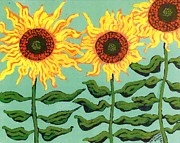Fine Art Original Prints - Three Sunflowers Print by Genevieve Esson