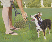 Racket Painting Framed Prints - Throw Me The Ball Framed Print by Lisa Hershman