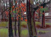 Plein Air Drawings - Thru The Trees by Donald Maier