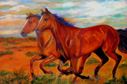Cowgirl And Cowboy Painting Originals - Thunder and Lightening by Andrea Folts