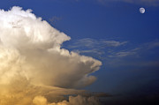 Thunderhead Photos - Thunderhead and Moon by Thomas R Fletcher