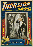 Tricks Painting Framed Prints - Thurston the Great Magician Framed Print by Unknown