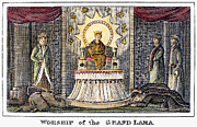 Tibetan Buddhism Framed Prints - Tibet: Grand Lama, 1832 Framed Print by Granger