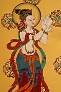 Tibetan Buddhism Framed Prints - Tibetan Buddhist Mural Framed Print by Michele Burgess
