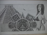 Pencil Native American Drawings - Tiempo Pasado by Dino Baiza