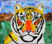 Animals Glass Art Originals - Tiger by Charles McDonell