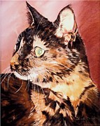 Cat Portraits Pastels Prints - Tiger Print by Deborah Carroll