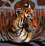 Tiger Painting Framed Prints - Tiger Framed Print by John Lautermilch
