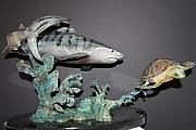 Tiger Shark Sculptures - Tiger shark chasing a turtle by Victor Douieb