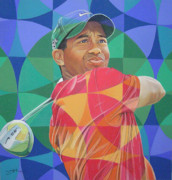 Golf Drawings Posters - Tiger Woods Poster by Joshua Morton