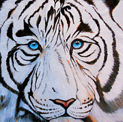 White Thick Fur Prints - TigerLove Print by Sheila Smith
