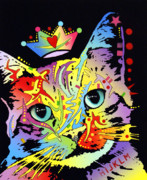 Dean Russo Art Mixed Media Posters - Tilted Cat Crowned Poster by Dean Russo
