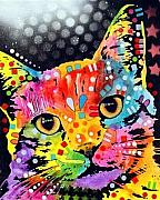 Kitty Mixed Media - Tilted Cat by Dean Russo