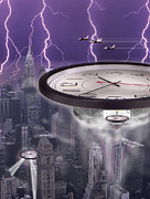 Clocks Posters - Time Travelers 2 Poster by Mike McGlothlen