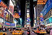 Traffic Tapestries Textiles Prints - Times Square Print by June Marie Sobrito