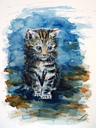 Best Present Prints - Timid kitten Print by Zaira Dzhaubaeva