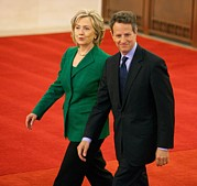 Powerful Women Framed Prints - Timothy Geithner And Hillary Clinton Framed Print by Everett