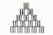 On Paper Photos - Tin can surrounded by US dollar note on top of pyramid by Sami Sarkis