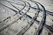 Tire Tracks And Footprints, Long Beach Peninsula, Washington Print by Paul Edmondson