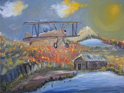Biplane Paintings - To Fly For Free by Michael Braun