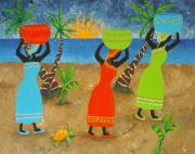 Native Art Paintings - To Market by Pamela Allegretto