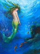 Mermaid Framed Prints - To  the Surface Framed Print by Gail Salituri