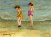 Little Girls Prints - Toddlers On The Shore Print by Vicky Watkins