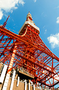 Observer Photo Metal Prints - Tokyo tower face cloudy sky Metal Print by Ulrich Schade