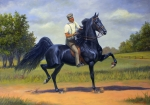 Equine Prints - Tom Bass and Rex McDonald Print by Jeanne Newton Schoborg