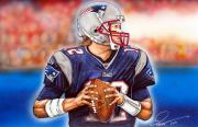 Champions Drawings Framed Prints - Tom Brady Framed Print by Dave Olsen