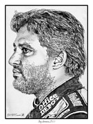 Rookie Drawings Prints - Tony Stewart in 2011 Print by J McCombie