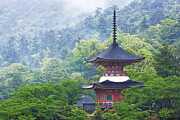 Miyajima Framed Prints - Top of a Pagoda Framed Print by Jeremy Woodhouse