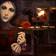 Night  Painting Originals - Touching the ephemeral by Dorina  Costras