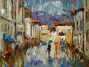 Rainy Street Painting Framed Prints - Tourists Framed Print by Debra Hurd