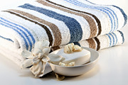 Striped Framed Prints - Towel with soap Framed Print by Blink Images